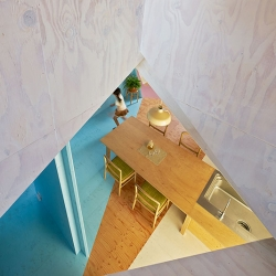 Fun use of color in the Apartment House in Chiba by Kazuyasu Kochi.