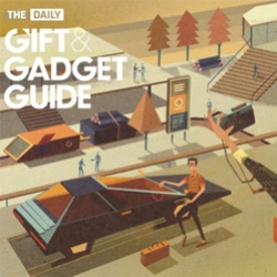 The Daily's Gift and Gadget Guide on iPad.  With a retro-futuristic design, the guide showcases everything from a flash drive to an Aston Martin. The beauty is in its amazing art from up–and–coming designers and photographers.