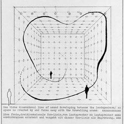 Sketches from one of the first sound projects called  Soundcube, made in 1969 by Bernhard Leitner.