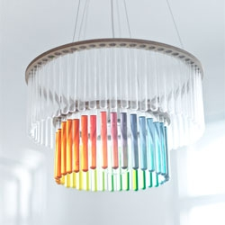 Beautiful customizable Maria S.C. chandelier from Polish designer Pani Jurek made with test tubes.