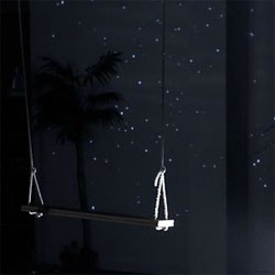 Starfield is an installation from lab212 where a swing is used to create a large interactive starry sky. Created with openFrameworks and utilizing a Kinect.