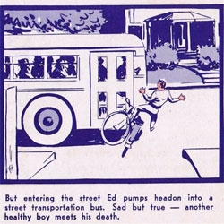 """A Ride of Death"", a 1940's reminder of bike safety."