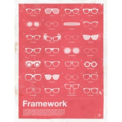 Frameworks. a poster capturing famous glasses from Moxy Creative.