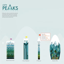 City Peaks, a fun project from Digit that encourages us to take the stairs. It allows you to track our stair climbing over the course of a day by tapping your Oyster card. You can then compare your ascent of the Gherkin to the likes of Ben Nevis.