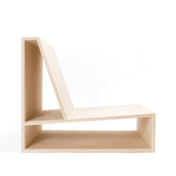 Minimalist, plywood chair by architect Pierre Thibault.
