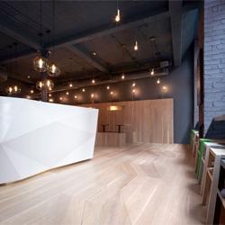The beautiful Yoobi Sushi on Lexington in London's Soho designed by Gundry & Ducker Architecture Ltd.