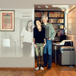 John Clang's series 'Be Here Now' captures family portraits created with projections from Skype.