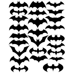 The evolution of the Batman symbol.