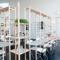 IkHa, a popup restaurant filled with Ikea hacked furniture in Filmhuis Den Haag theatre in The Hague. Designed by Oatmeal Studio.