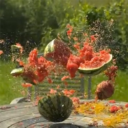 Rubber bands vs Water Melon. Another amazing video from The Slow Mo Guys.