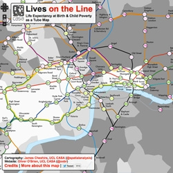Lives on the Line, an interesting overlap of life expectancy at birth and child poverty as a tube map from James Cheshire and Oliver O'Brien of UCL, CASA.