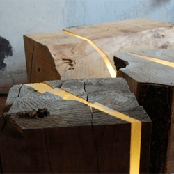 Marco Stefanelli's Breece Collection created from sawmill waste and branches embedded with resin and LEDs.