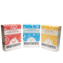 Great new packaging for Domata, a gluten-free baking mix company from Ultra Creative.