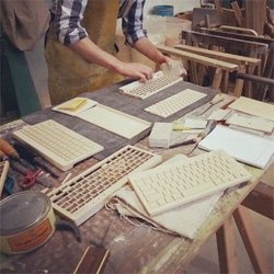 The Orée Wireless Wooden Keyboard made from wood! Love the photos of it under construction.
