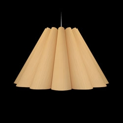 The Lola Wood Light, an American Oak veneer shade that floats midair.