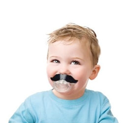 The Li'l Shaver Mustache Pacifier from Fred & Friends gives your baby a mustache.