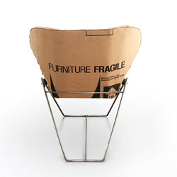 The Re-Ply chair by Dan Goldstein is made from recycled cardboard boxes.