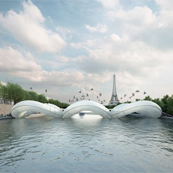 Atelier Zündel Cristea's playful trampoline bridge design for the 'A Bridge in Paris' competition.