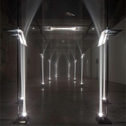 Arcades by Troika, a site-specific installation that creates an arcade of light created for Future Primitives, Biennale Interieur 2012, Kortrijk Belgium.