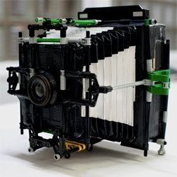 Dominique Vankan 4×5 self-built camera is made from cardboard, Lego, duct tape, and the lens from an enlarger.