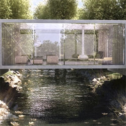 The Bridge House design by ObjecktCreative for a house over a creek in Northern California.