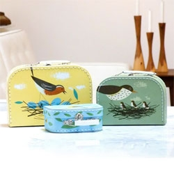 Cute birdy suitcases from Magpie.