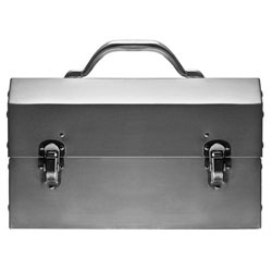 The beautiful Nickel-Plated Aluminum Lunch Box from Kaufmann Mercantile.