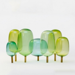 Andre Engesvik's hand blown glass tree make up his accessories, The Woods.