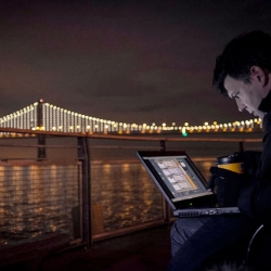 Leo Villareal's Bay Lights Project lighting up San Francisco's Bay Bridge with 25,000 LEDs.