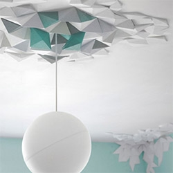 Simple and fun to install 'Rhombus System' by Fundamental Group, set of polystyrene tiles to paint, arrange, glue together to create a unique decoration for any space. Transforming a wall or a ceiling becomes easy!