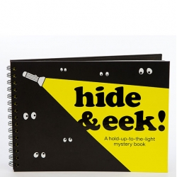 Great new kids book, Hide & Eek! by Rebecca Sutherland, Hat-Trick and Knock Knock hides surprises that are only revealed by flashlight.