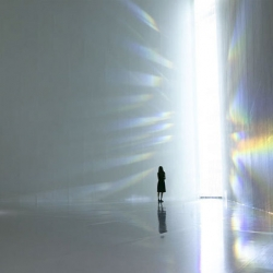 Tokujin Yoshioka's Crystalize exhibit including the crystal Rainbow Church at the Museum of Contemporary Art Tokyo.