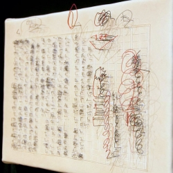 Minami Arai uses books and wires in Tracing Action to emphasize the beauty of the written word.