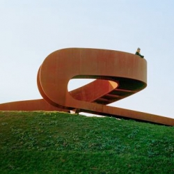 The Elastic Perspective, a set of circular stairs which leads the visitor up to a height that allows an unhindered view of the horizon in Carnisselande from Next Architects.
