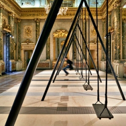 A swing set within the grand Milanese palazzo by Philippe Malouin with Caesarstone Movements.