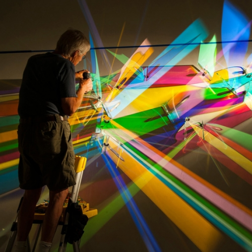 Lightpaintings by Stephen Knapp. The colors are created by using a special glass treated with layers of metallic coatings that act as a selective prism to separate focused light into different wavelengths of the spectrum.
