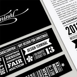 Identity for the Ajándék Terminál exhibition, a Christmas fair and auction by Kiss Misklos.