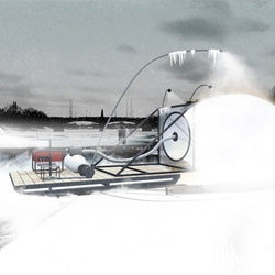 Polar Hen, Mjölk Architekti's winning competition entry for the international architecture competition Warming Huts v.2012. The terraforming machine pumps up the icy riverwater to spray it over an air-filled silicone inflatable creating igloos.