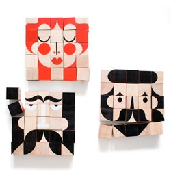 Facemaker, a new line of handprinted wooden blocks from Millergoodman (Zoe Miller and David Goodman).