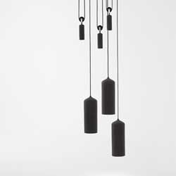 Porcelain and Gradient lamps from Studio WM (Wendy Legro and Maarten Collignon) that are height adjustable using simple pulleys.