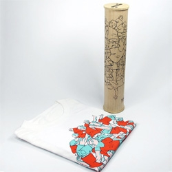 Cute poster tube style t-shirt packaging that folds out to double as wall art from Society27.