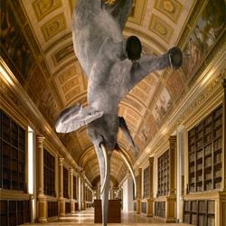 Daniel Firman's gravity-defying elephant sculptures.