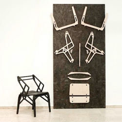 Konstantin Achkov's Groove and Tenon, a flatpack plywood furniture series that are assembled by interlocking pins.