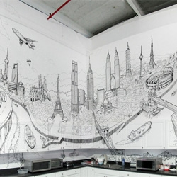 Global City, an impressive new mural from Deck Two composed of iconic monuments from the world's cities.