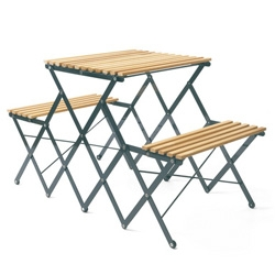 Klapptischbank Up Up Up, a collapsible picnic table and benches.