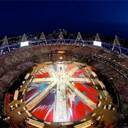 The Damien Hirst designed flag of last night's London 2012 Closing Ceremony.