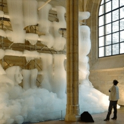 Michel Blazy fills a Cistercian monastery in Paris with foam in his installation titled Bouquet Final.