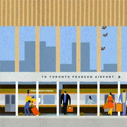 Winkreative and illustrator Lotta Nieminen, Toronto-based Guru Studio set about to weave a colourful populated visual narrative for the Union Pearson Express which will be coming to Toronto in 2015.