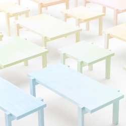 These 'Colored-pencil tables' from Nendo are covered in paper and are colored with color pencils.