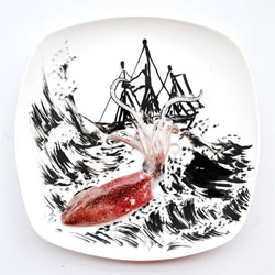 Beautiful stories on plates from Hong Yi (Red).